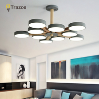 TRAZOS 220V LED Chandelier With Metal Lampshade For Living Room Modern Ceiling Chandeliers Wooden Lustres Rooms Hanging Lamps