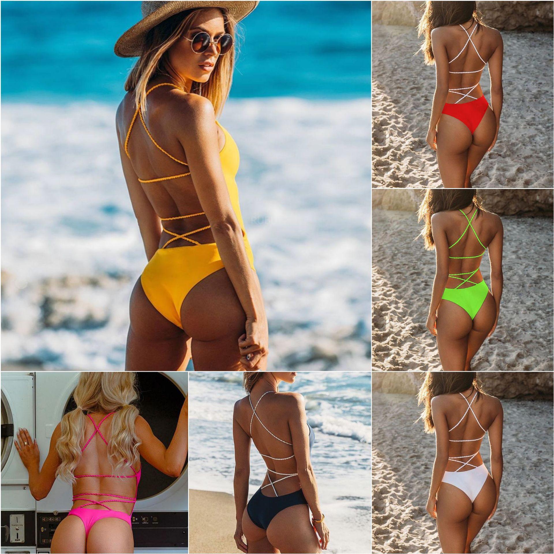 Новинка 2020, Женский однотонный купальник, сексуальный цельный купальный костюм, купальный костюм с открытой спиной, боди, пляжная одежда, мо...
