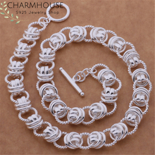Silver 925 Long Necklaces Women Multi Circles Pendant & Necklace Chain Choker Collier Femme Wedding Bridal Jewelry Accessories
