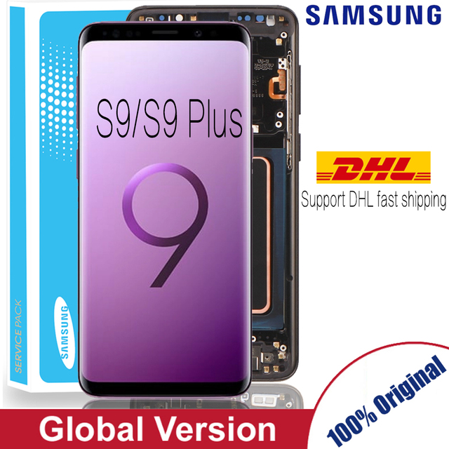 100% Super Amoled Vervanging Met Frame Voor Samsung Galaxy S9 S9 + Lcd Touch Screen Digitizer G960 G965 S9 plus Lcd