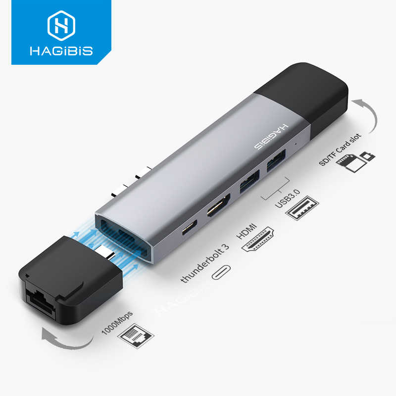 Hagibis USB C HUB USB C إلى HDMI RJ45 Thunderbolt 3 محول Type-c USB 3.0 HUB SD/TF قارئ بطاقات PD محول ل MacBook Pro