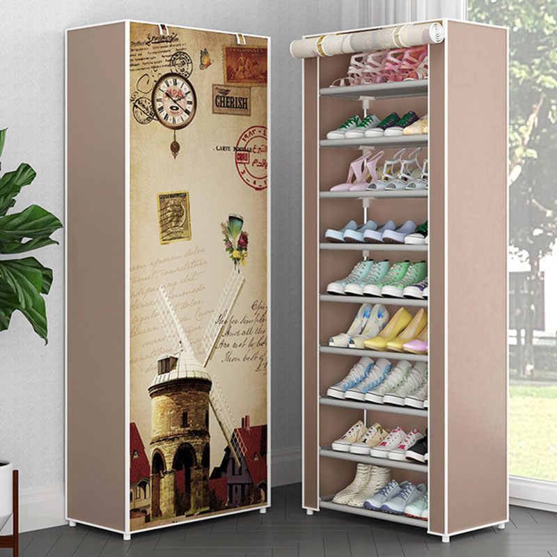 Simple Non-woven Cloth Fabric Dustproof Shoe Rack Folding Assembly Metal Shoe Rack Home Shoe Organizer Cabinet