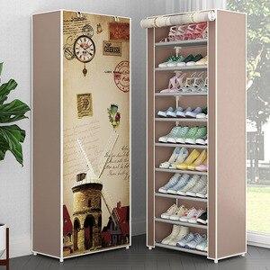 Image 1 - Simple Non woven Cloth Fabric Dustproof Shoe Rack Folding Assembly Metal Shoe Rack Home Shoe Organizer Cabinet