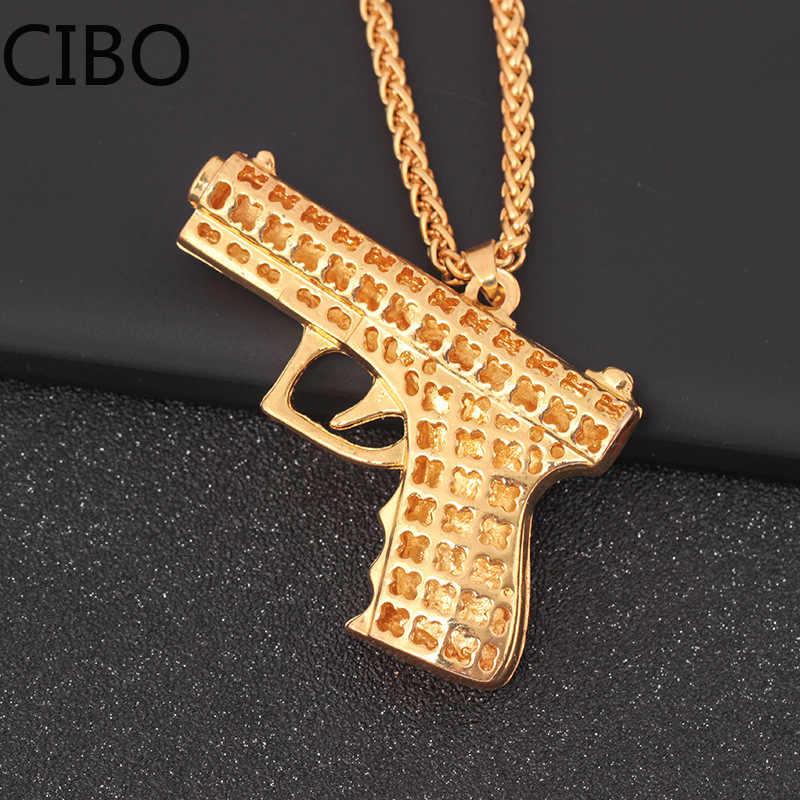 2019 nowego mężczyzna mrożona Rhinestone HIP Hop 2PAC pistolet naszyjniki wisiorki złoty kolor stal nierdzewna Iced Out Bling pistolet naszyjnik dla