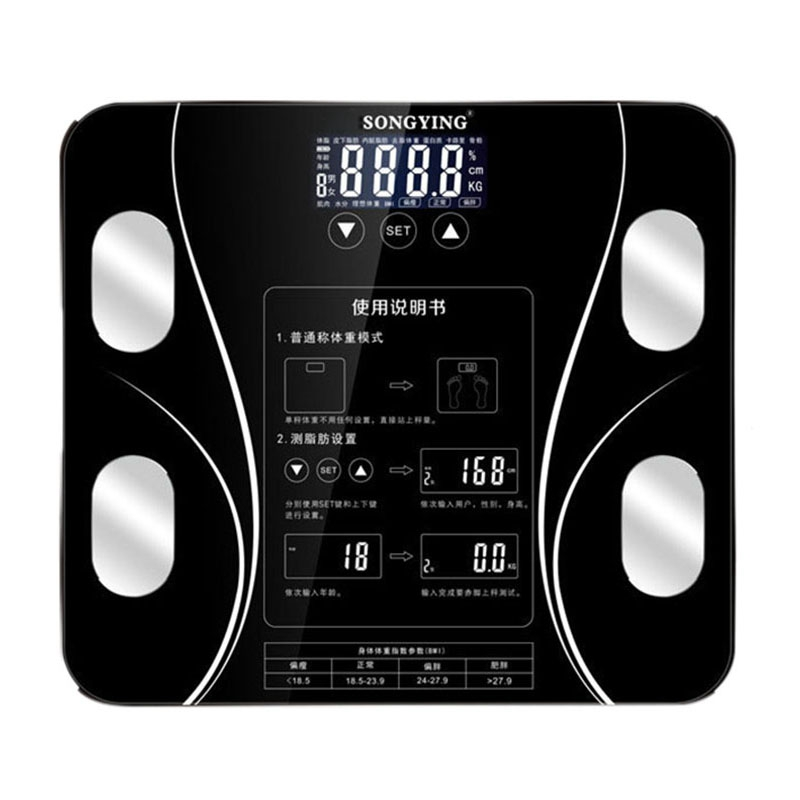 Contact Button Bathroom Weight Scale Lcd Smart Body Balance Electronic Scales Clever Bmi Body  Scale Bathroom Scales     - title=
