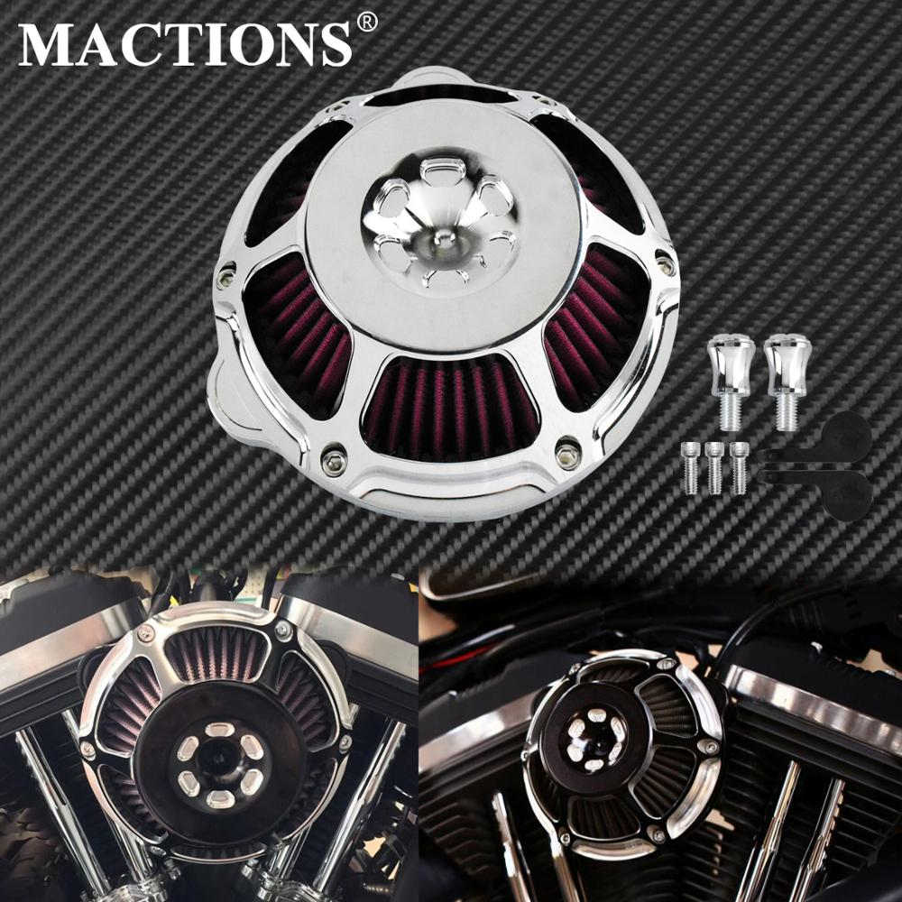 Motorcycle Chrome Air Cleaner Filter Intake Filter CNC For Harley Sportster XL883 48 Touring Dyna Super Glide Street Bob SoftailAir Filters & Systems   -