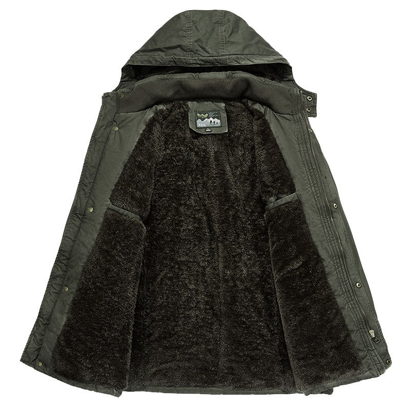 Image 3 - Brand Winter Military jacket Men Windbreaker wool Liner Overcoat Jaqueta Masculina Men's Fur Hooded snow parka Coat men clothing-in Parkas from Men's Clothing