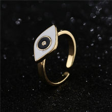 Moda ouro cor anel aberto para festa venda quente preto/branco óleo mal olho charme anéis dropshipping femme bijoux presente de aniversário
