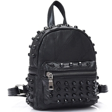 New Women Small Good Leather Backpack Rivet Daily Cute Black for Teenager Girls Schoolbag Casual Travel Rucksack