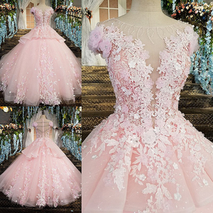 Image 5 - LS00196 Zipper Back Floor Length Cap Sleeves Ball Gown 3D Flowers Luxury Pink Evening Dresses 2020 rReal Photos