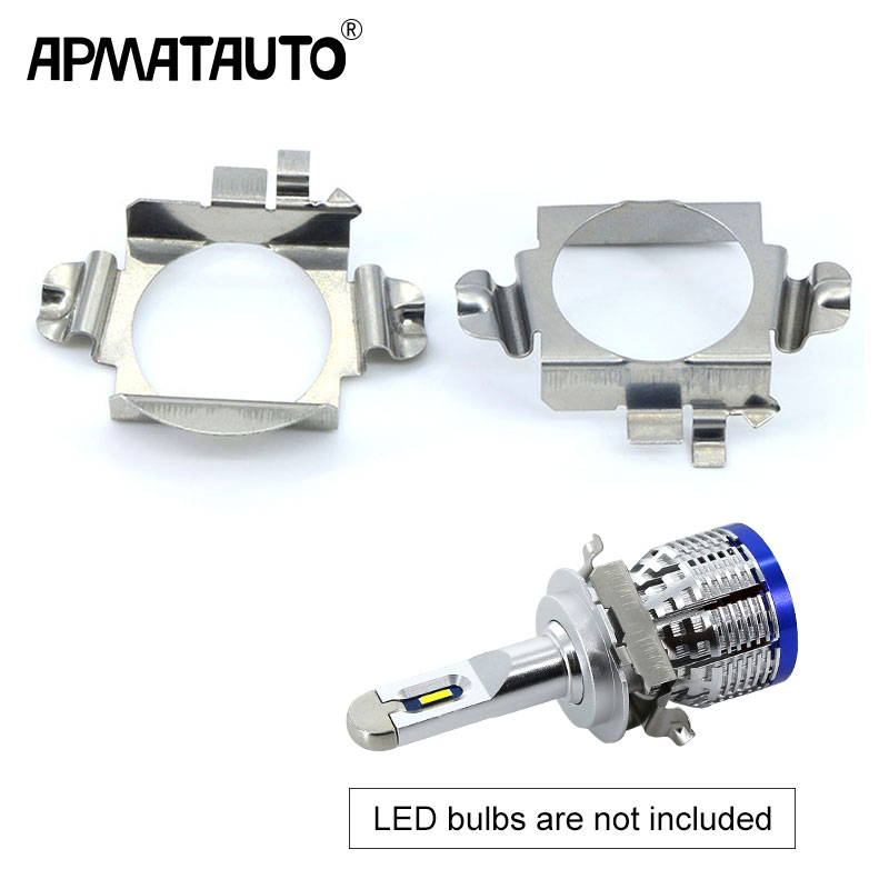 Apmatauto 2pcs H7 Led Adapter Base Headlight Bulb Special Metal Clip Retainer Sockets For Mercedes C E ML CLK GLA GL GLS