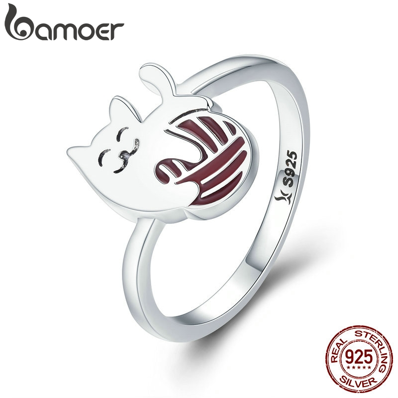 BAMOER Authentic 100% 925 Sterling Silver Exquisite Play Ball Little Cat Finger Ring Women Sterling Silver Jewelry S925 SCR211
