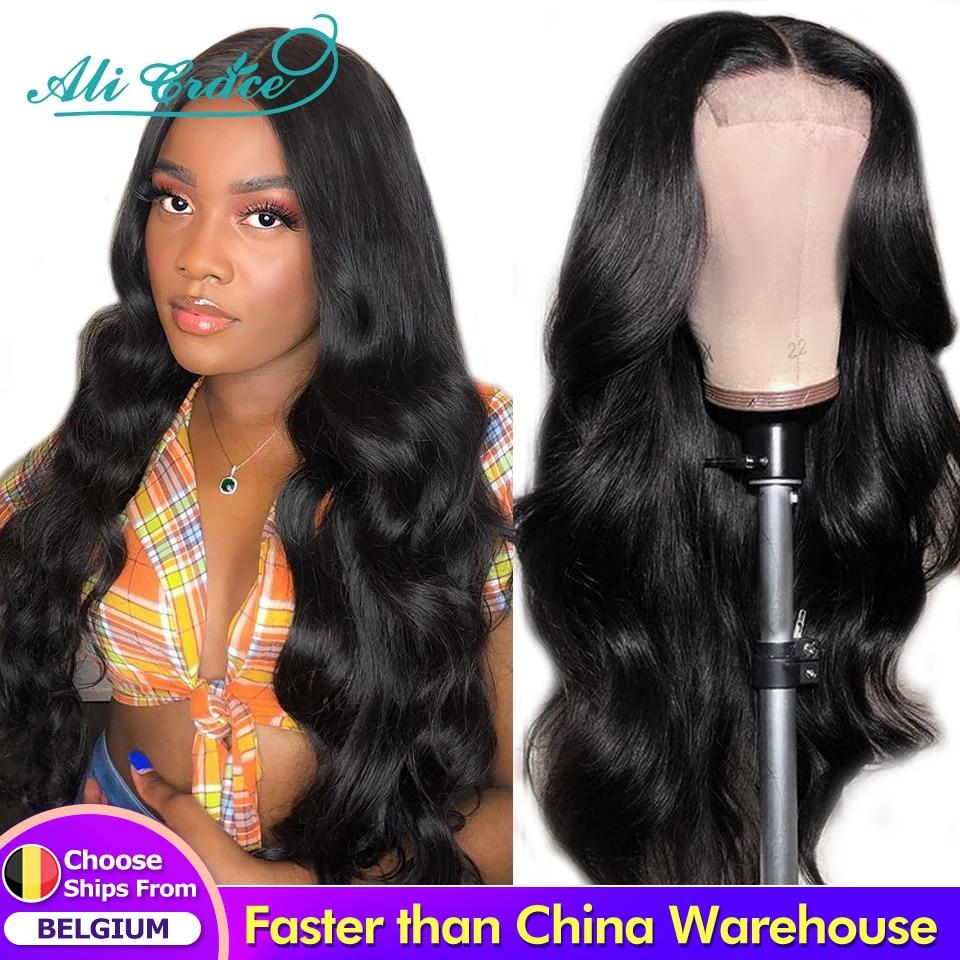 Парик Ali Grace на сетке 4x4, бразильский парик на сетке, парики из человеческих волос, 180% плотные предварительно выщипанные парики на сетке спере...
