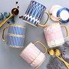Creative European ceramic spoon mug with lid British royal ceramic coffee cup tea cup with stainless steel spoon milk coffee set