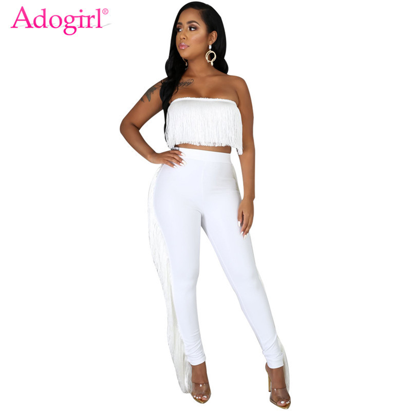 Adogirl Women Sexy Strapless Tassel Two Piece Set Fashion Slim Tube Crop Top Fringed PU Leather Pencil Pants Female Casual Suits