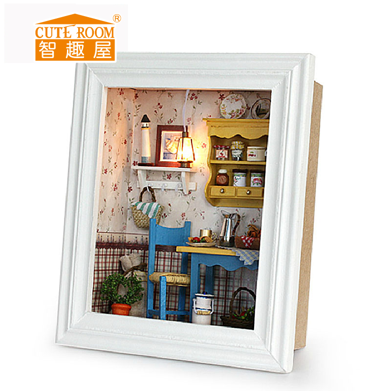 3D Doll Houses DIY Wooden Doll House Miniature Picture Frame dollhouse Furniture Kit Toys for Children Christmas Birthday Gifts