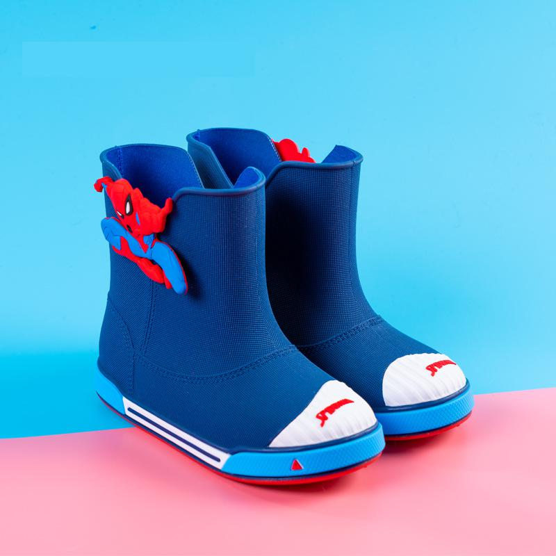 Original Disney Marvel Spiderman Children's Rain Boots Boys' Water snow Boots Children's Cartoon Fashion Short Anti-skid Boots