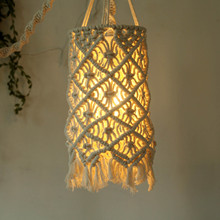 Woven Lamp Shade Boho Hanging Pendant Light Cover Hand-woven Wall Decor Home Decoration Lampshade Security