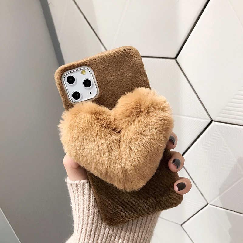 Capa de telefone para iphone 11 pro xs max x xr 8 7 plus quente peludo macio capa de amor caso de coração para iphone 8 7 6 s plus