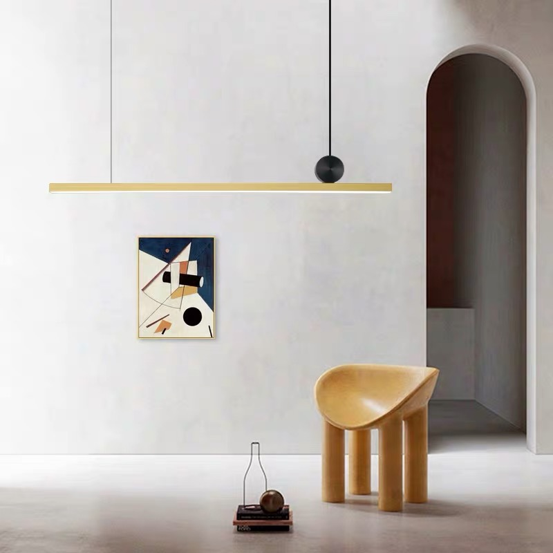 IKVVT Modern Simple Long Pendant Lights Fancy Geometric Line Golden Hanging Lamp Restaurant Livingroom Bedroom Indoor Lighting