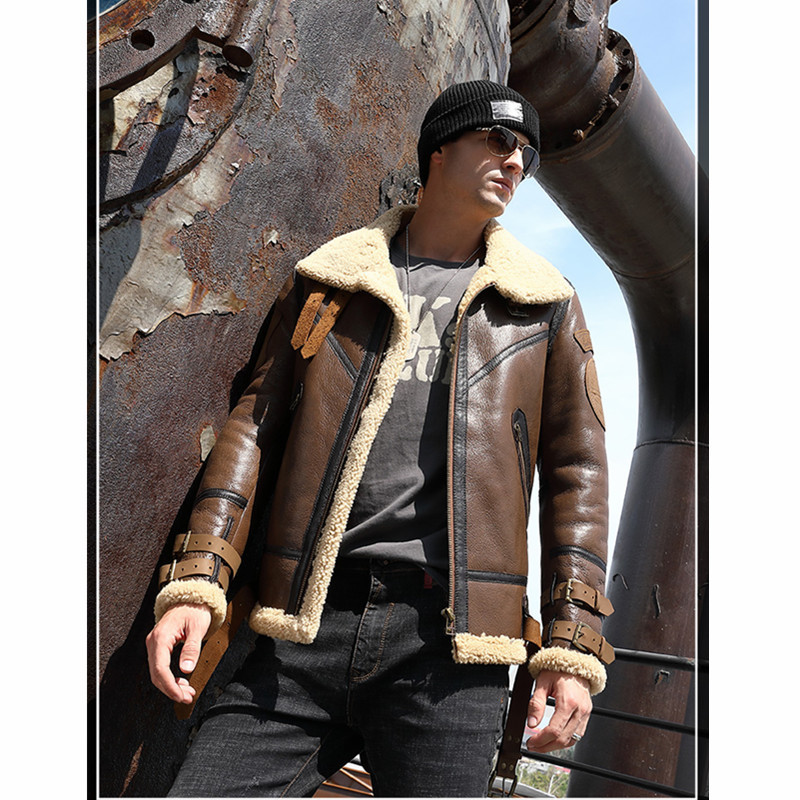 Leather Jacket Men 2020 Real Fur Natural Sheep Shearing Winter Coat For Mens Clothing Chaqueta Cuero Hombre 2156 YY850