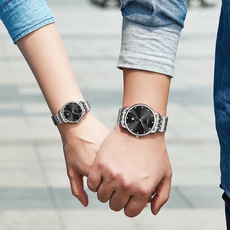 LOBINNI Top marka mężczyzna kobieta zegarek na prezent miłośników zegarki wodoodporne pary Sapphire japonia kwarcowy zegarek ze stali nierdzewnej