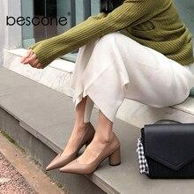 BESCONEฤดูใบไม้ผลิชุดใหม่ผู้หญิงปั๊มหนังวัวคุณภาพสูงเซ็กซี่Pointed Toe 6ซม.รองเท้าแฟชั่นตื้นสุภาพสตรีปั๊มBO109