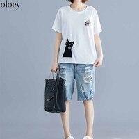 2019 Korean Women Tee Shirt Loose Vintage Animal Cat Printed Cotton T Shirt Oversized Casual Cartoon Plus Size Tshirt Female New