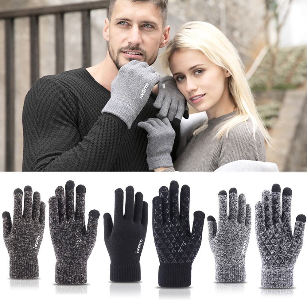 New Touch Screen Knitted Gloves Winter Autumn Men Women Thicken Wool Mitten Outdoors Driving Anti-slip Warmer Couple Gloves