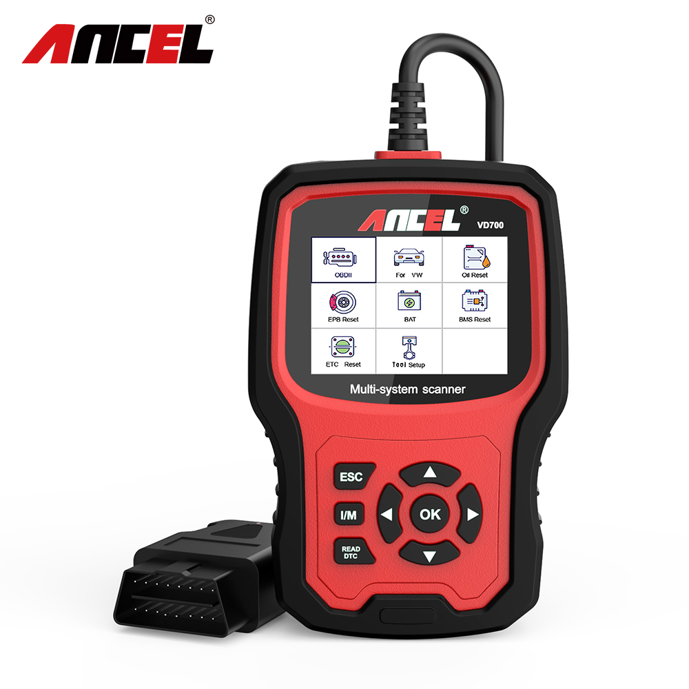 ANCEL VD700 Car Diagnostics OBD2 for VW Audi Skoda Seat VAG Automotive Scanner ABS SRS Oil EPB DPF TPMS Reset OBD2 Auto Scanner-in Air Bag Scan Tools & Simulators from Automobiles & Motorcycles on