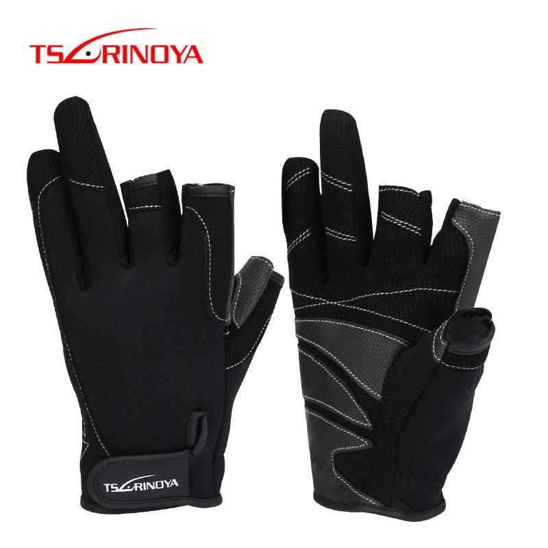TSURINOYA Fishing Gloves 3 Half-Finger Outdoor Fishing Equipment Men Non-slip Winter River Fishing Protective Gloves