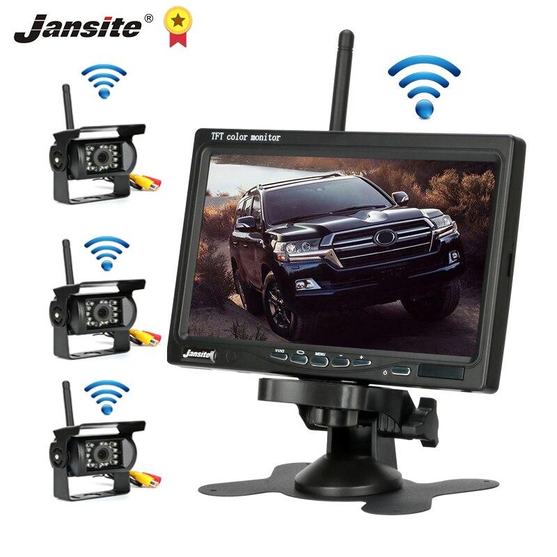 Jansite 무선 트럭 카메라 7 인치 트럭 버스 RV 트레일러 굴삭기 자동차 모니터 역방향 이미지 12V-24V 후면보기 카메라