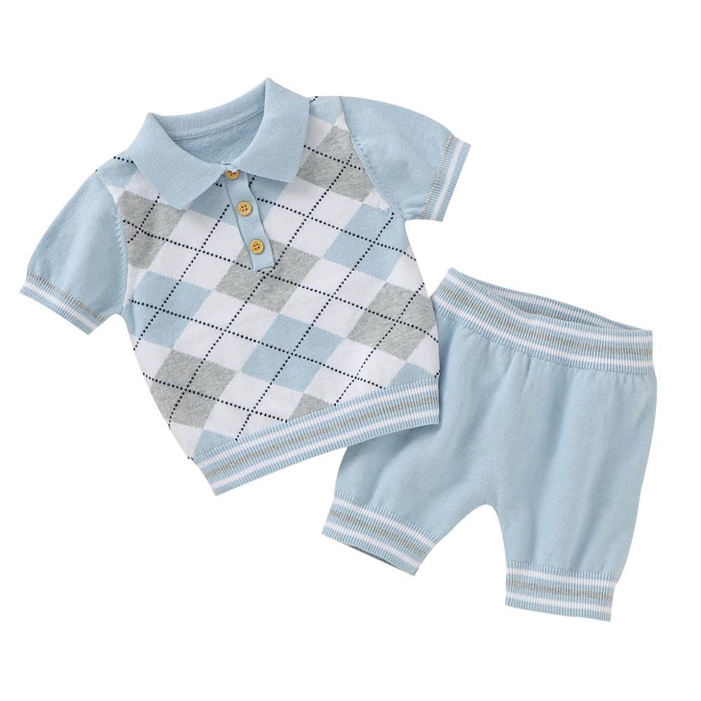 Verão bebê manga curta conjuntos de roupas moda topos + calças da criança meninos meninas roupas ternos 2 pçs recém-nascido roupas infantis 0-18m
