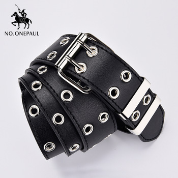 women belt Genuine Leather New Punk style fashion Pin Buckle jeans 1