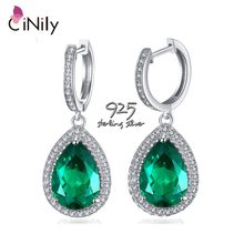 CiNily Water Drop Shape Luxury Emerald 925 Sterling Silver Earring for Women Fine Jewelry Engagement Drop