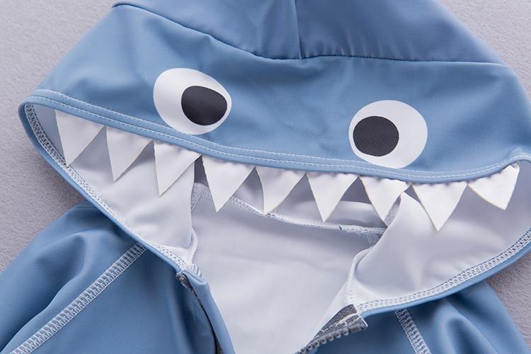 KID'S Swimwear Boys' Cotton One-piece Swimsuit Shark Long Sleeve Hooded Tour Bathing Suit Children Beach Sun-resistant Swimwear