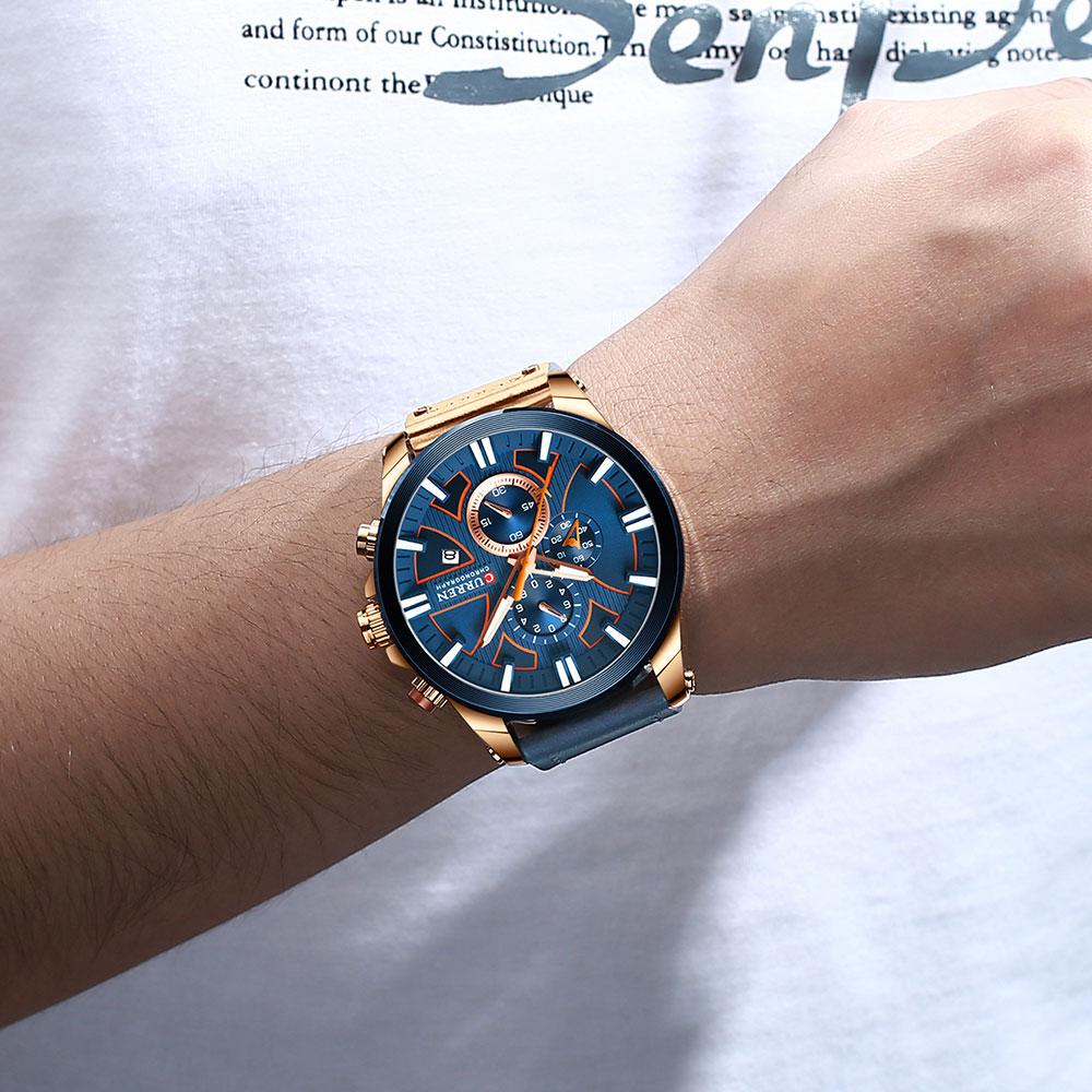 H7835bb0e285a48dabe44b4093495ff26A CURREN  Brand Luxury Men Watch Leather Quartz Clock Fashion Chronograph Wristwatch Male Sport Military 8346 Relogio Masculino