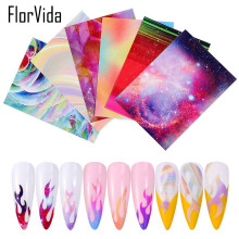 FlorVida 6pcs Kit Flame Stickers For Nails Foil Manicure Decorations Set Nail Art Sticker Fire Press On Adhesive