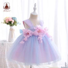 Yoliyolei Sling Baby Children Dresses Flower Girl Ball Gowns Summer Tulle Dresses Casual Wedding Party Kids Clothes for 2-5Y