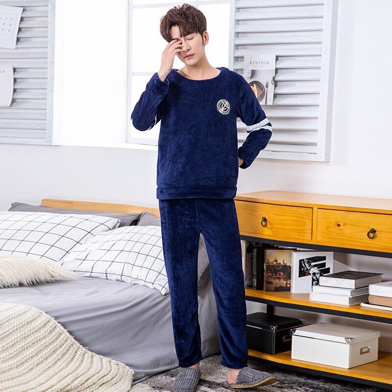 Pajamas Men Male Sleepwear Home-Clothing Warm Winter O-Neck Coral-Fleece Thicken