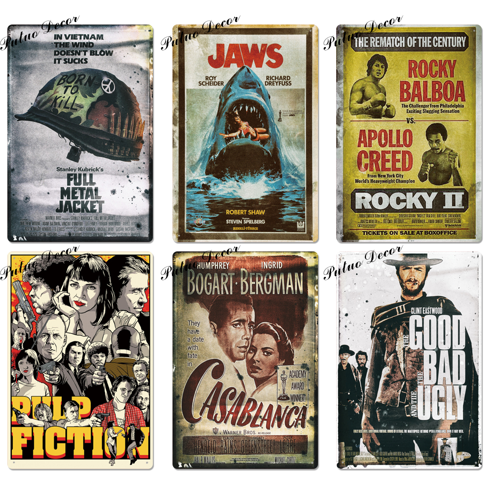 Classic Movie Metal Sign Metal Poster Tin Sign Plaque Metal Vintage Wall Decor for Bar Pub Club Man Cave Metal Signs(20x30cm)