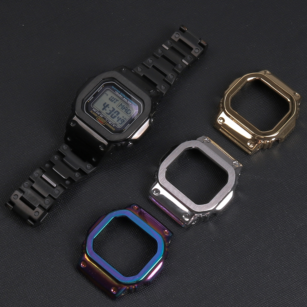316L Stainless Steel Bezel For G-shock Watch Case&Strap For Casio DW5600 GW5600/5035 GW-M5610 G5600E Modified Into GWM-B5000