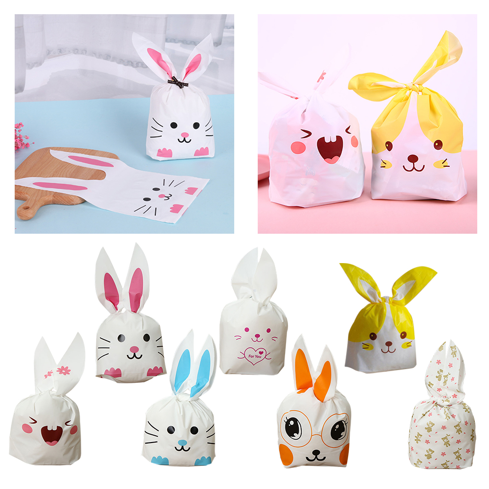 10pcs Cute Rabbit Ear Cats Cookie Bags For Candy Biscuits Snack Baking Package Wedding Birthday Easter Party Decoration Supplies
