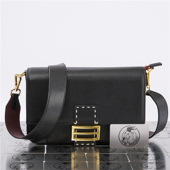 Natural Cowhide Leather Women Solid Color Messenger Bag Fashion Underarm Baguette Handbag For Ladies Saddle - discount item  20% OFF Travel Bags