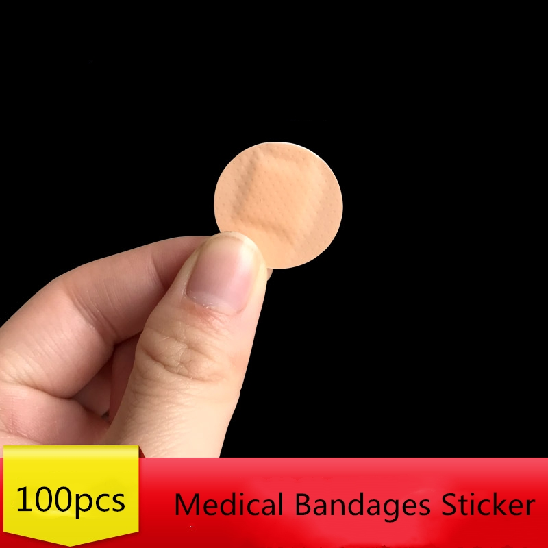100Pcs 22*22mm Waterproof Wound Adhesive Band Aid Bandages Sticker First Aid Kit Supplies