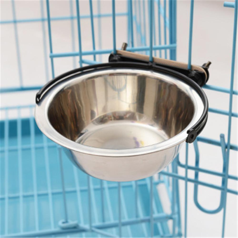 Hang Stationary Dog Bowls Pet Cage Stainless Steel Hanging Bowl Pets Cat Feeder Puppy Kitten Feeding Food Drinking Water Bowls