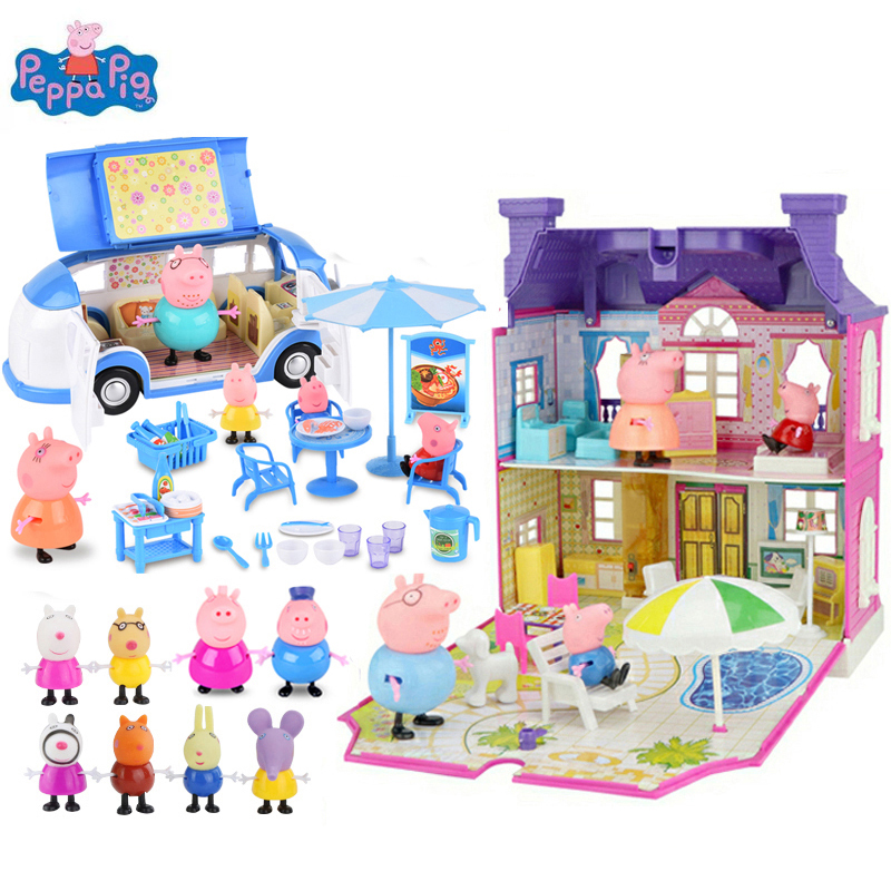Original Peppa Pig Figures Toys Amusement Park Play House Toys PVC Action Figures Family Member Pig Toy Baby Kid Birthday Gift