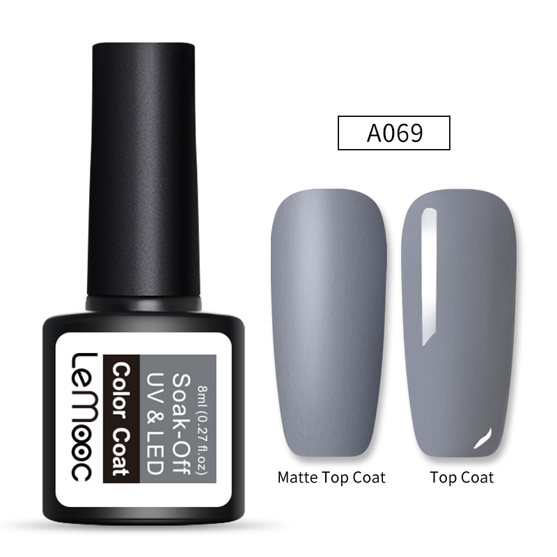 LEMOOC 8ml Matte Top Coat Color UV Gel Nail Polish Gray Series Semi Permanent Soak Off UV Gel Varnish DIY Nail Art Gel Paint