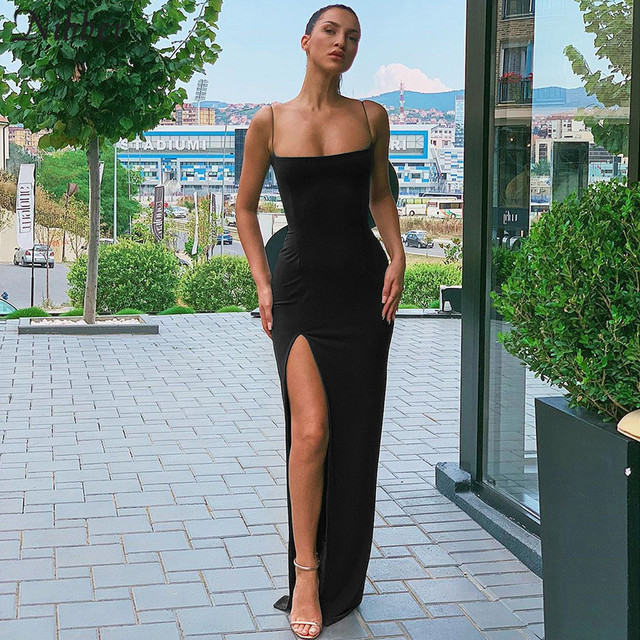 Nibber red black New year christmas party long dresses women 2020 spring new bodycon lace up stretch Slim Soft midi dress femme 2