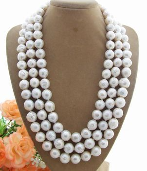 Rare Natural 3Strands 10mm Bead-Nucleated Pearl Necklace